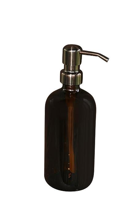 Pinta de vidrio ámbar tarros de dispensador de jabón con bomba de Metal bronce – ámbar