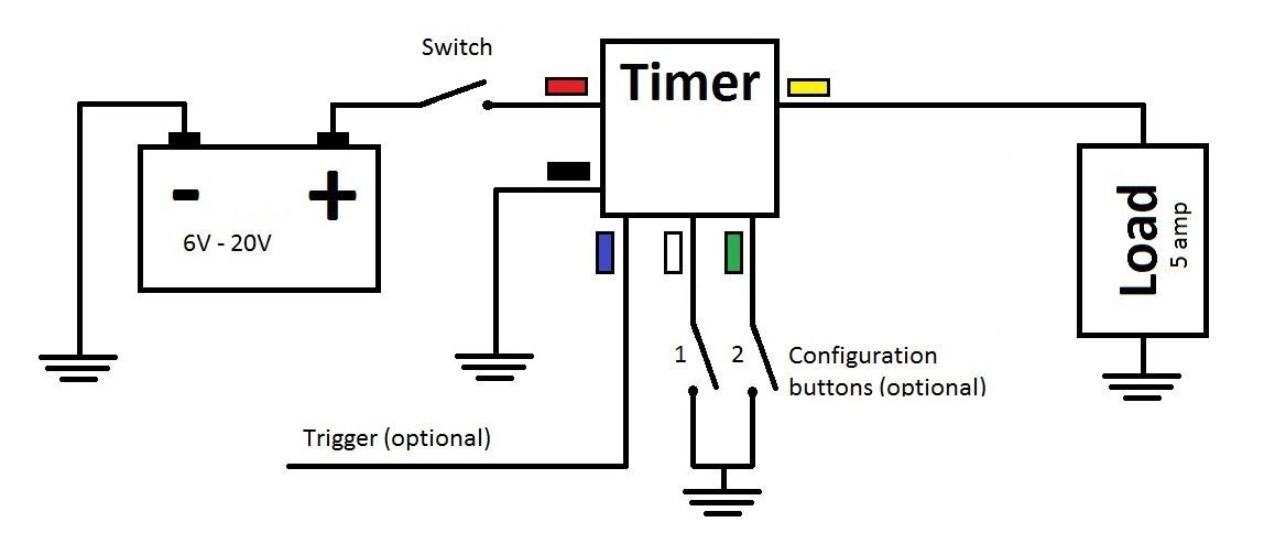 mini timer time delay relay 2 sec to 1000 hours 12v 5a power on rh amazon com