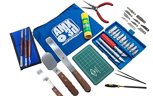 40 Piece 3D Printer Tool Kit - All The 3D Printing Tools & Accessories Needed to Remove, Clean & Finish 3D Prints - Toolkit Includes Spatulas, Pliers, Tweezers, Scrapers & More - Print Like a Pro ()