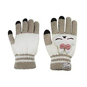 Womens Girls Ladies Cute Rabbit Animal Winter Warm Wool Touchscreen Gloves Mitten Texting Gloves for Electronic Devices iPhone/iPad/Tablet/Android Phones, Best Present for Xmas Day/Birthday/New Year