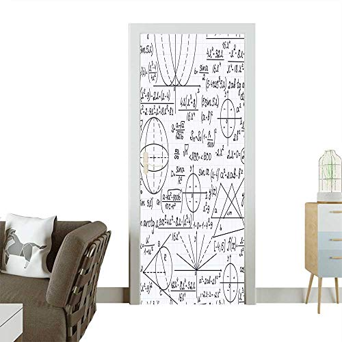 Door Sticker Wall Decals School Genius Bright Student Math Geometry Science Numbers Formules Image Black and White Easy to Peel and StickW36 x H79 INCH]()