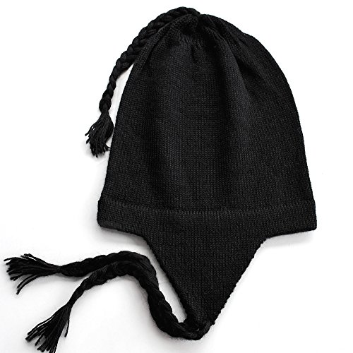 - The Alpaca Collection, 100% Alpaca Wool Knit Chullo Beanie Hat Black Unisex One Size