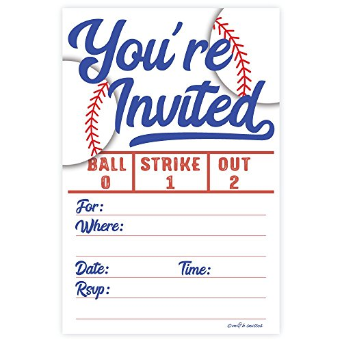 Baseball Party Invitations (20 Count) with -