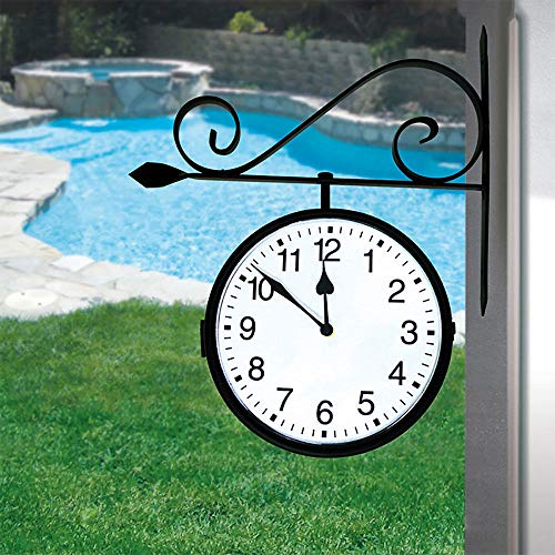 zwan Dual Sided Water Resistant Outdoor Pool Patio Hanging Clock, Black with Ebook by zwan (Image #2)