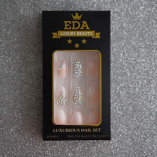 EDA LUXURY BEAUTY NATURAL NUDE PINK OMBRE WHITE FRENCH 3D GLAMOROUS JEWEL DESIGN Press On Gel Glitter Artificial Tips Acrylic False Nails Extra Long Ballerina Coffin Square Super Fashion Fake Nails