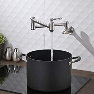 HOSINO Wall Mounted Pot Filler Faucet, Brushed Nickel Kitchen Faucet Kettle Faucet with Double Valves Stove Faucet Wall Faucet Dual Joint Swing Arm Brass Faucet