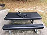 Table Glove Fitted Marine Grade Vinyl Picnic Tablecloth Sets -Picnic Table Cloth Cover - Hand Made - Great For Camping or Full time RV Living (8ft, Slate Black)