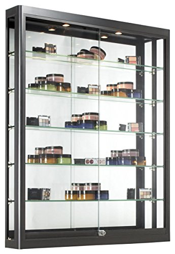 (Wall Mounted Display Case with Height Adjustable Glass Shelves and 2 Halogen Lights, 39-1/2 x 47-1/4 x 6-Inch, Locking Sliding Glass Doors - Ships Fully Assembled, Black)
