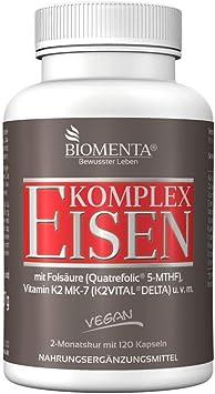 BIOMENTA Complejo de hierro - con bisglicinato de hierro + cobre + vitamina A + vitamina C + vitamina K2 MK7 + ácido fólico + vitaminas B + calcio + ...