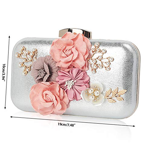 Flower Silver Chain Luxury Purse Women Prom 2 Wallet Wedding Clutch Bag SLYlive Party Evening H6qYpH