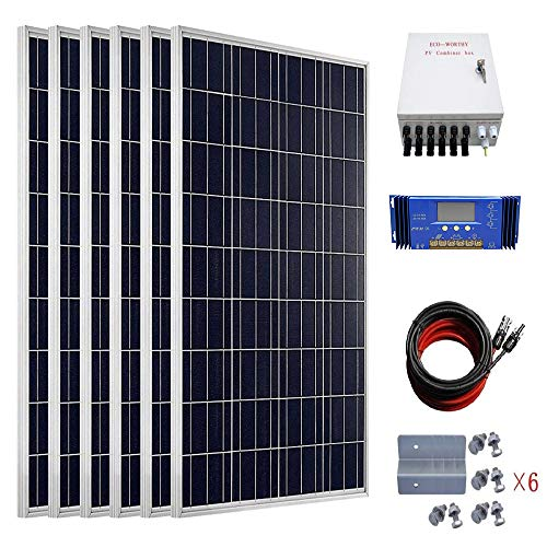 ECO-WORTHY 600W Solar Power System Off Grid: 6pcs 100W Polycrystalline Solar Panel + 60A PWM Charge Controller + Combiner Box + Solar Cable + Z Mounting Brackets ()