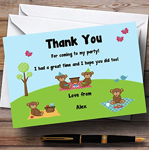(Picnic Teddy Bears Personalized Birthday Party Thank You Cards)