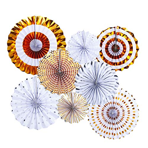Silver Party Hanging Paper Fans Decoration Set for Wedding Birthday Party New Years Round Events Accessories Set of -