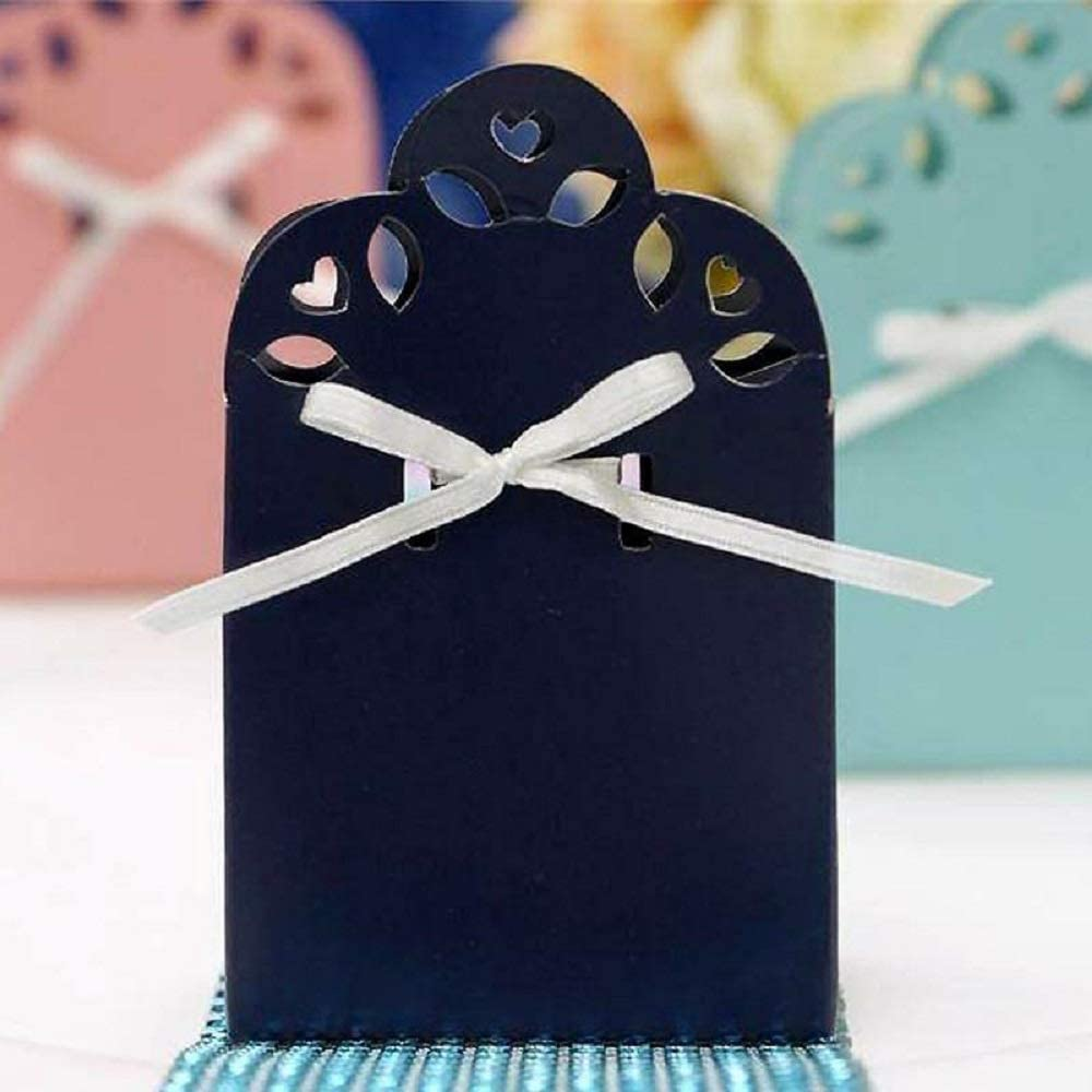 100 Boxes with Ribbon Navy Blue YSefa