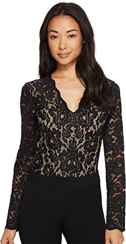 Karen Kane Women's Scallop Lace Bodysuit Black Large by Karen Kane