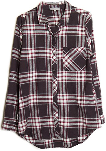 womens-roll-up-sleeve-plaid-check-flannel-shirt-medium-black-burgundy-1844
