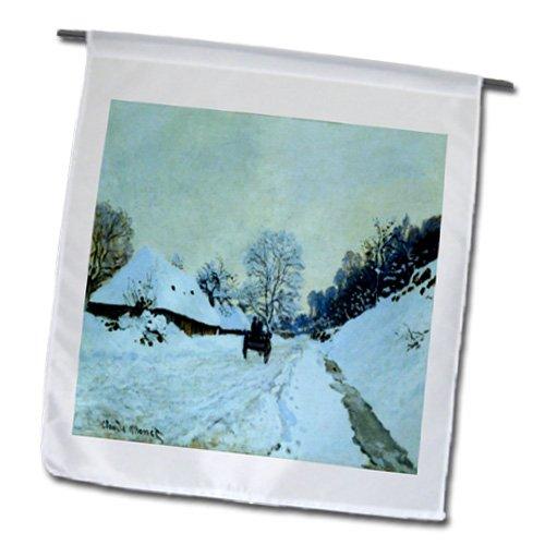 Florene - Monet Vintage Art - Print of Monet Painting Cart On Snow Covered Road - 18 x 27 inch Garden Flag (fl_203742_2)