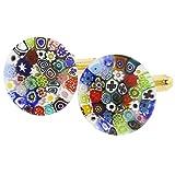 GlassOfVenice Murano Glass Color Splash Millefiori Cufflinks - 3/4 Inch