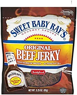product image for Bridgford, Sweet Baby Ray's, Original Beef Jerky, Barbecue BBQ Sauce, 3.25oz Pouch (Pack of 4) by Bridgford