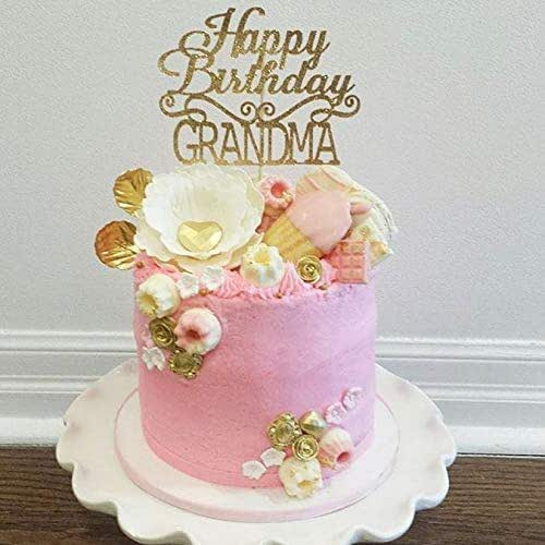Happy Kitchen Decoration Cake: Amazon.com: Gold Happy Birthday Grandma Cake Topper For Party Decoration: Handmade
