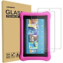 [2 Pack] Orzero for All-New Amazon Kindle Fire HD 8 Kids Edition 2018/2017 Realeased Tempered Glass Screen Protector, 9 Hardness HD Anti-Scratch Bubble-Free [Lifetime Replacement Warranty]