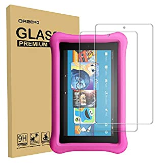 (2 Pack) Orzero for All-New Amazon Kindle Fire HD 8 Kids Edition 2018, 2017 Realeased Tempered Glass Screen Protector, 9 Hardness HD Anti-Scratch Bubble-Free (Lifetime Replacement)