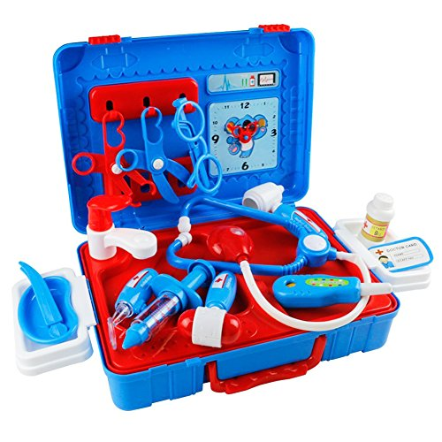 jerryvon Doctor Kit Pretend Play Medical Set Case Doctor Nurse Game Playset with Cartoon Carrycase Great Gift for Kids Boys Girls Over 3 Years Old