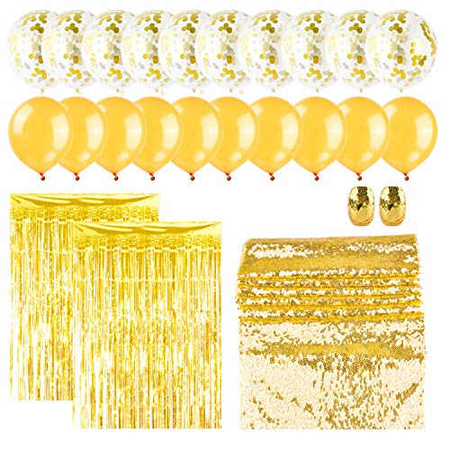 OUGOLD Gold Party Birthday Decorations - 25pcs Gold Party Decoration Set - Gold Table Runner, Ribbon and Confetti - Party Supplies for Weddings, Birthday, Baby/Bridal Shower, Bachelorette Part