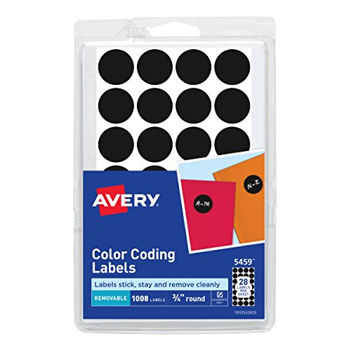 Avery 05459 Handwrite Only Removable Round Color-Coding Labels, 3/4
