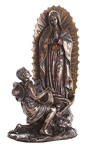 Virgen De Guadalupe Juan Diego (10 Inch Our Lady Of Guadalupe San St Juan Diego Saint Estatua Virgen Miracle Religious Collectible Figurine Cast Bronze Statue)
