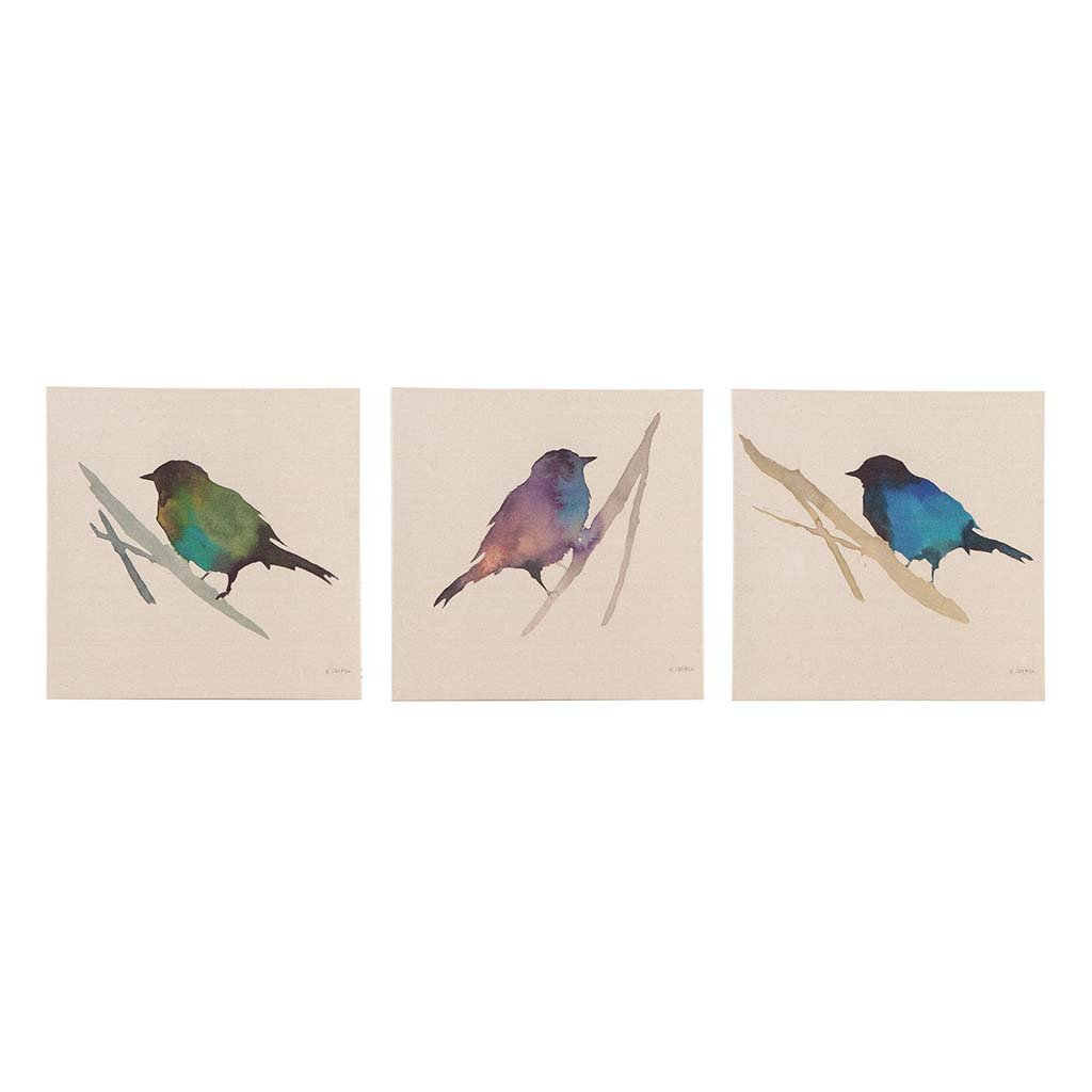 Madison Park Branch & Flight Animal Canvas Wall Art 15X15 3 Piece Multi Panel, Animal Transitional Wall Décor