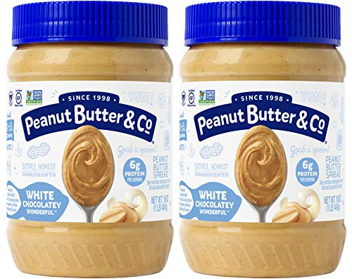 (Peanut Butter & Co. White Chocolatey Wonderful Peanut Butter, Non-GMO Project Verified, Gluten Free, Vegan, 16 oz Jars (Pack of)