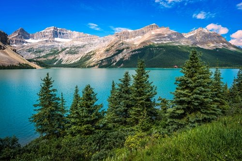Mountain,Blue Lake,Green Tree - Art Print Poster,Wall Decor,Home