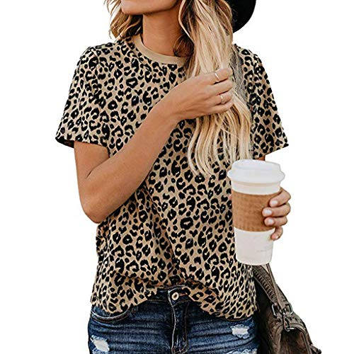 (Sodoop 2019 New Leopard Print Scoop Neck T Shirt Casual Tops,Fashion Casual Cute Soft Short Sleeve Blouse Tee Blouse (XXL))