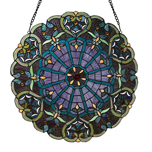 River of Goods  Victorian Style Stained Glass Panel: 23 Inch High Webbed Heart Decorative Window Hanging