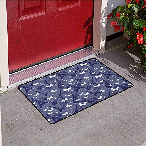 Gloria Johnson Paris Universal Door mat Vibrant Color Eiffel Tower Background with Stars and Butterflies City of Fashion Door mat Floor Decoration W31.5 x L47.2 Inch Bluegrey Indigo
