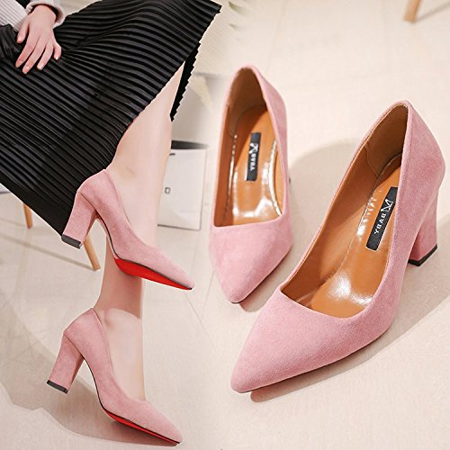 Xue Qiqi Tipp mit dicken high-heel Schuhe aus schwarzem Satin mit wilden einzelne Schuhe 36 Rosa (7.5Cm)