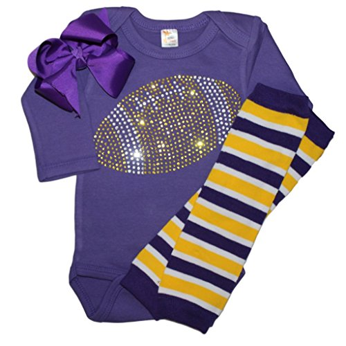 Baby girl's Purple & Yellow Team Colored Rhinestone Yellow Football on a Purple Outfit (Viking Outfit Girl)