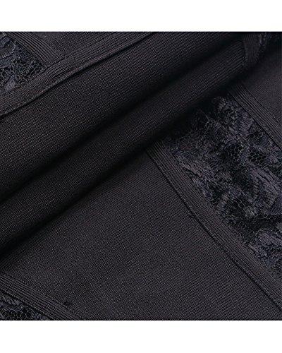 Whoinshop Floral Illusion Sleeve Bandage Midi Long Sexy Club Black Women's Dress Lace twrXBrq