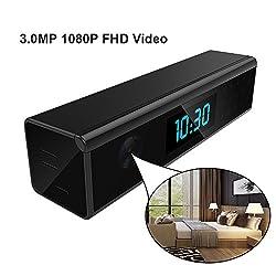 Wireless wifi Hidden Clock Camera Nanny surveillance Cam -HD 1080P WiFi Home Indoor Security Camera mini black Table Alarm Clock wifi Mini video recorder[SD Card Not Included]