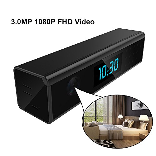 Wireless WiFi Hidden Clock Camera Nanny Surveillance Cam -HD 1080P WiFi Home Indoor Security Camera Mini Black Table Alarm Clock WiFi Mini Video Recorder[SD Card Not Included]