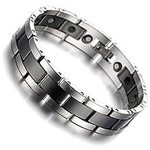 "Kstyle Jewelry Tungsten Magnetic Hematite Mens Bracelet black & silver 8"" B1407"