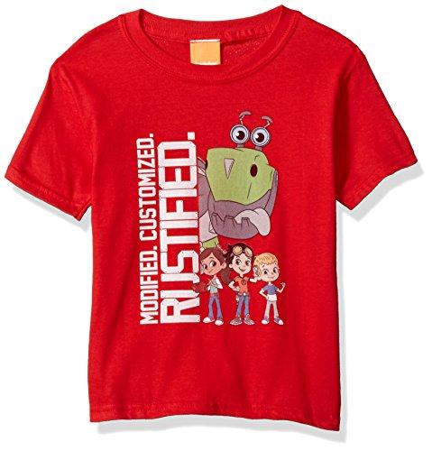 Rusty Rivets Boys' Little Short Sleeve T-Shirt, red, M-5/6 (Short T-shirt Rusty Sleeve)