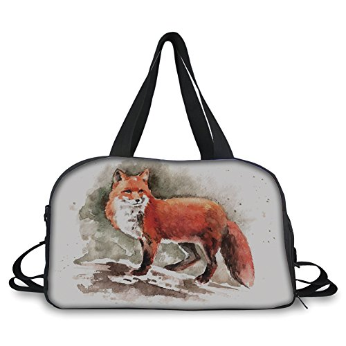 (iPrint Travel Handbag,Fox,Watercolor Hand Drawn Red Fox with Bushy Tail Brushstrokes Tod Mammal Decorative,Burnt Sienna White Brown ,Personalized)