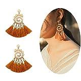 MVCOLEDY Women's Tassels Dangle Earrings Handmade Colorful Layered Tassel Elegant Jewellery Bohemian Style Ethnic Eardrop Drop Tiered Tassel Druzy Stud Earrings Women Gifts (Brown)