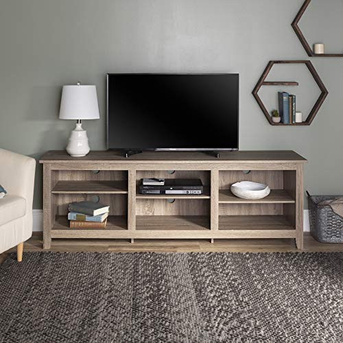 Walker Edison Minimal Farmhouse Wood Universal Stand for TV's up to 80