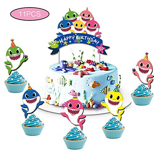 (Baby Shark Cake Topper and Cupcake Toppers Cute Shark Cake Decoration for Baby Shower Cake Smash Birthday Party)