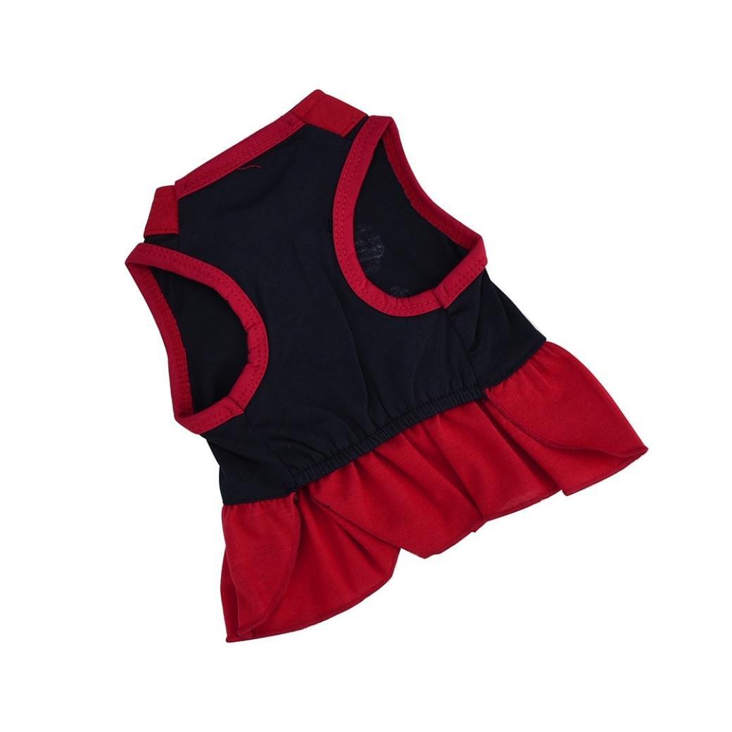 SunGren Vestido de perro pequeño, camiseta de perro de mascota de moda Vestido de gato de mascota de perro falda falda de chaleco de verano lindo (M, ...