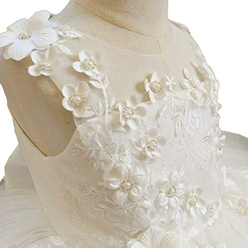 Ann and Grace Off White Lace and Tulle Flower Girl Dress, Christening First Communion Baptism (3T)