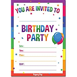 30 Birthday Invitations with Envelopes (30 Pack) - Kids Birthday Party Invitations for Boys or Girls - Rainbow